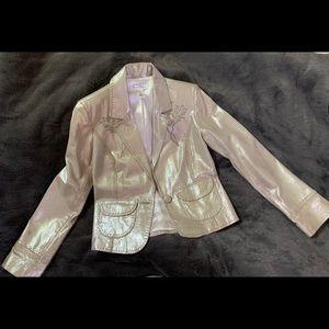 White House Black Market silver leather blazer.